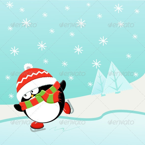 Ice Skating Penguin - Animals Illustrations