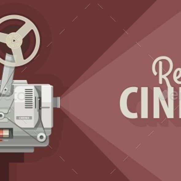 Retro Movie Projector for Old Films Show