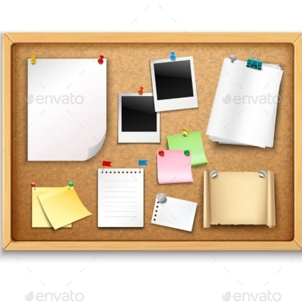 Cork Board with Papers