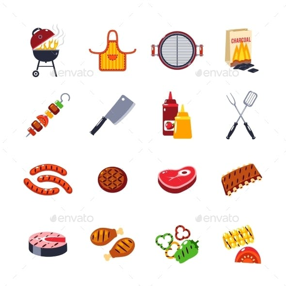 Barbecue And Grill Icon Set