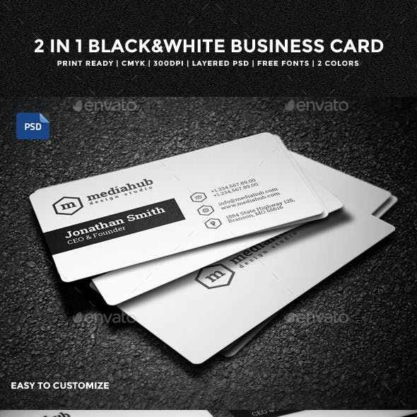 2 in 1 Black & White Business Card - 55