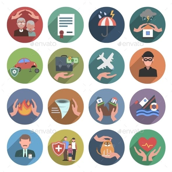 Insurance Icons Flat Set