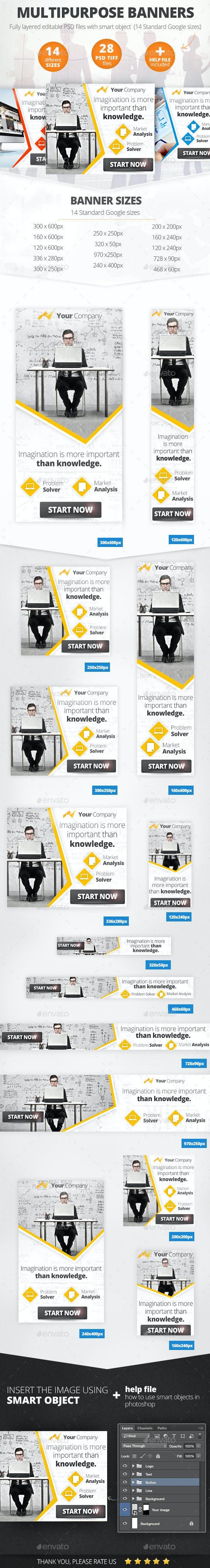 Multipurpose Marketing Web Banners  - Banners & Ads Web Elements