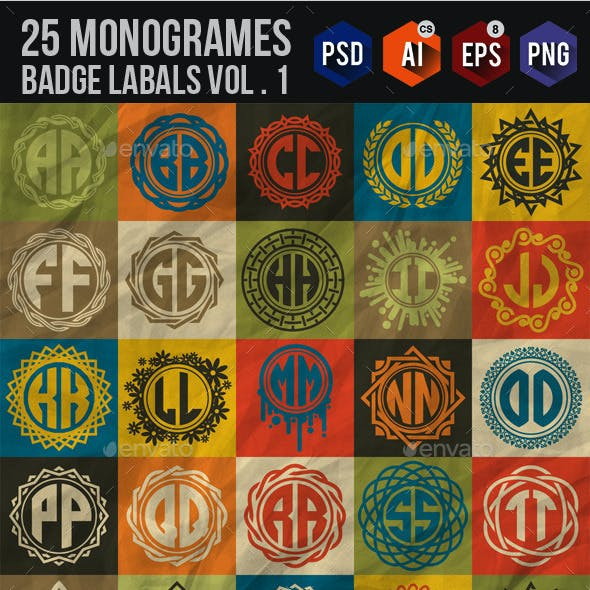 25 Monogrames Badge Labals With Alphabet v1