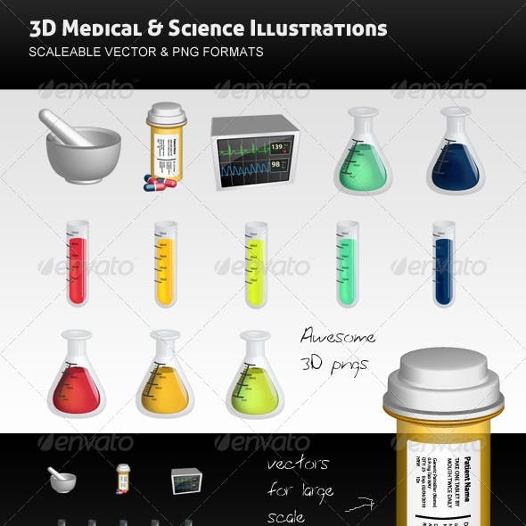 3D Science and Medical Vectors Pack