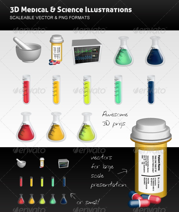 3D Science and Medical Vectors Pack - Health/Medicine Conceptual