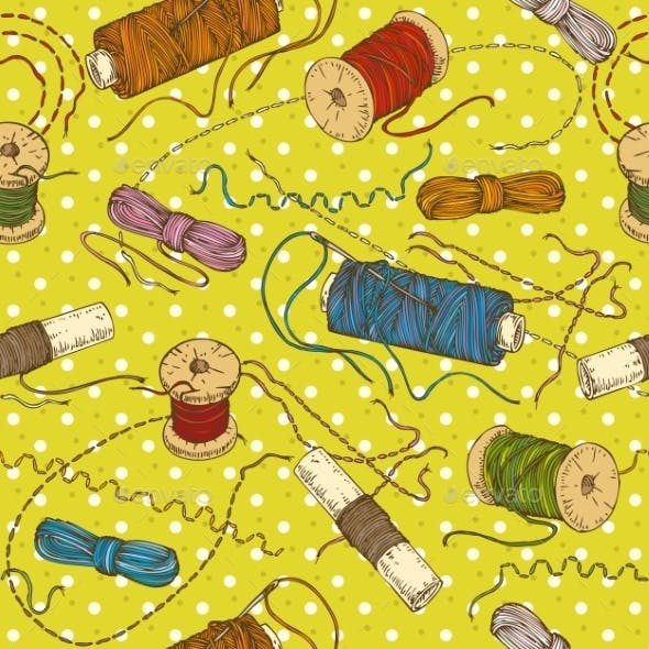 Seamless Pattern with Spools of Thread