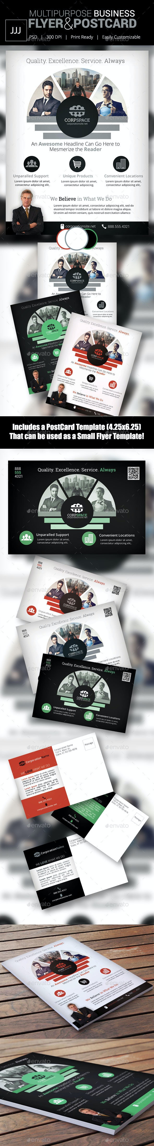 Business Flyer 45 with Postcard Template - Corporate Flyers
