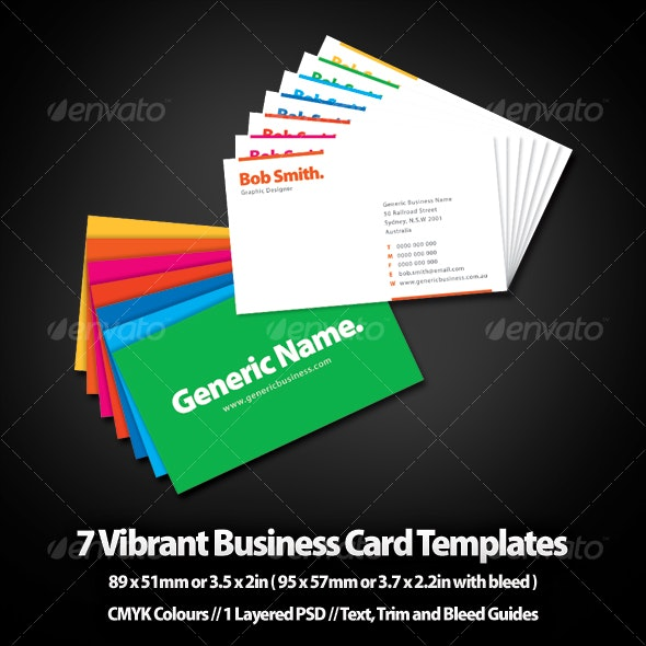Seven Vibrant Business Card Templates - Creative Business Cards
