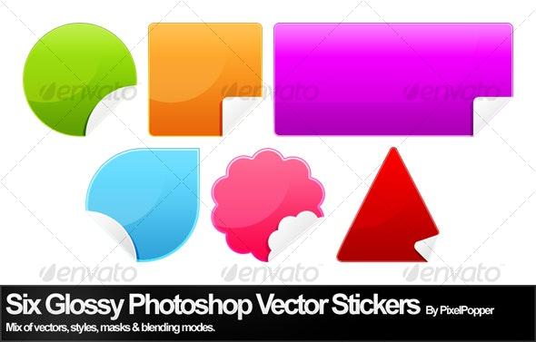 Six Glossy Photoshop Vector Stickers - Decorative Symbols Decorative