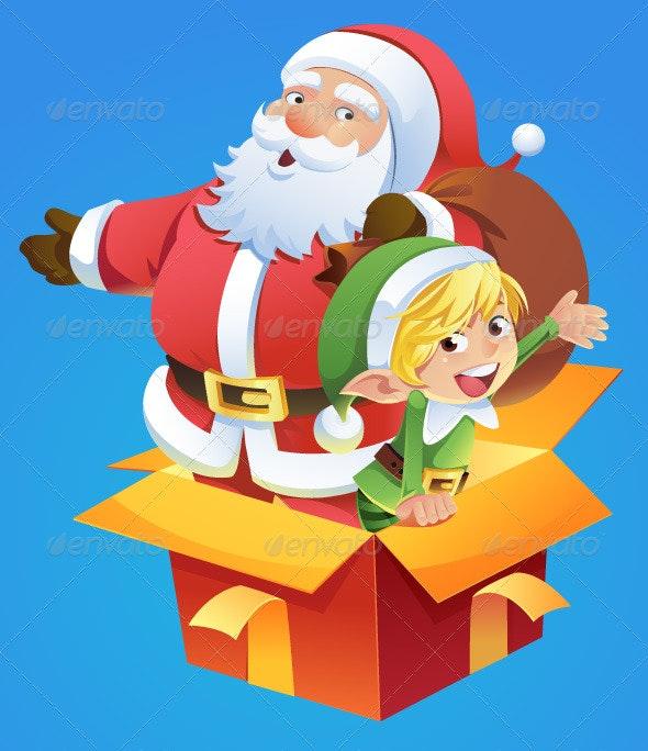 Santa and Elf - Christmas Seasons/Holidays