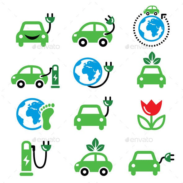 Green or Eco Transport Icons