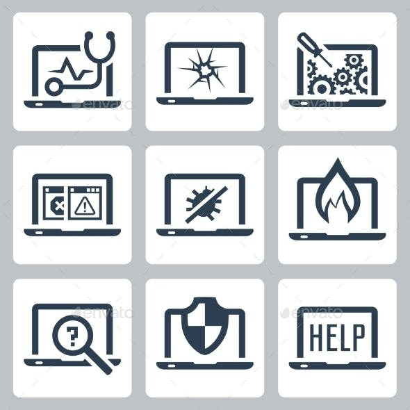 Laptop Tech Service Icon Set