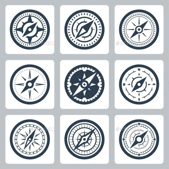 Compasses Vector Icon Set