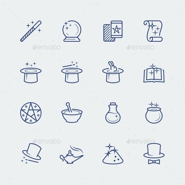 Vector Set Of Magic Related Icons