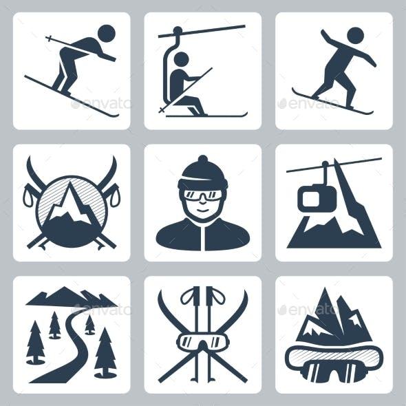 Vector Ski And Snowboard Resort Icon Set