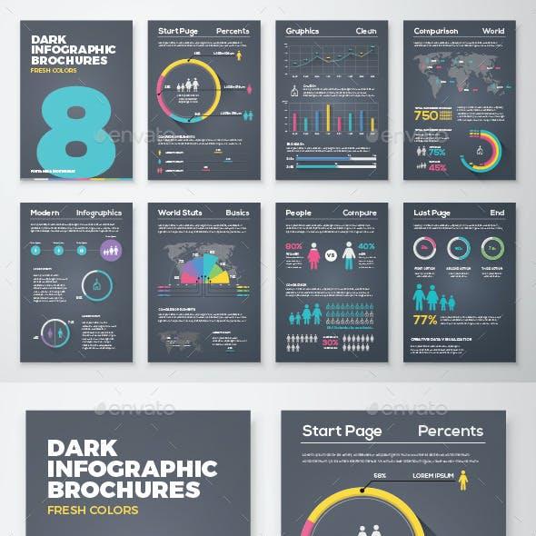 Dark Infographic Brochure Vector Elements Kit 8