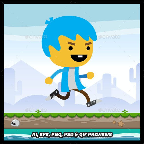 Flat Style Running and Jumping Boy Sprite Sheets