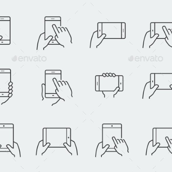 Icon Set Of Hands Holding Smartphone And Tablet