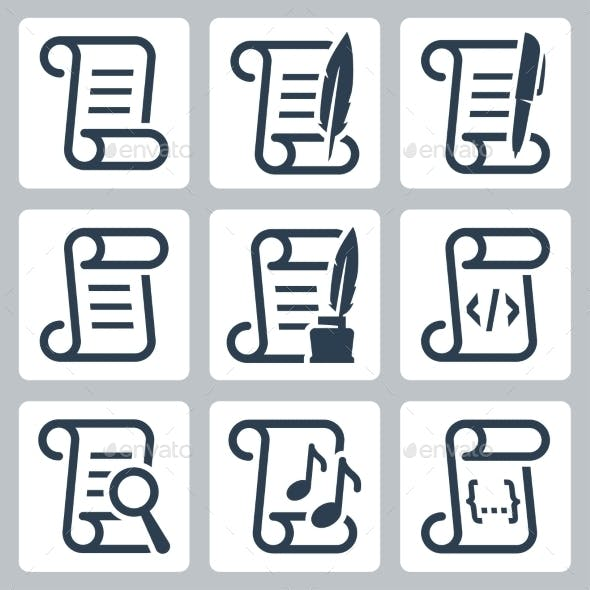 Paper Scroll Vector Icon Set