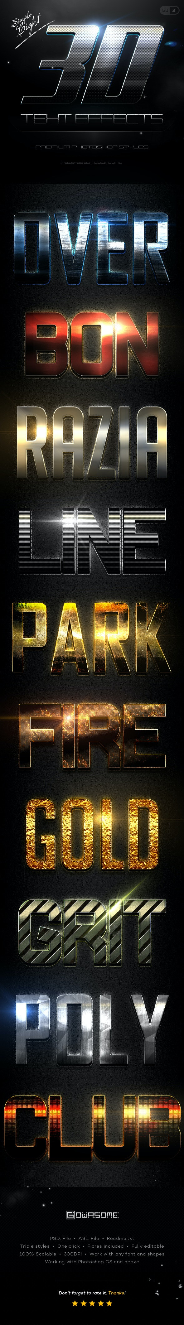 Simple 3D Light Text Effects GO.3 - Text Effects Styles