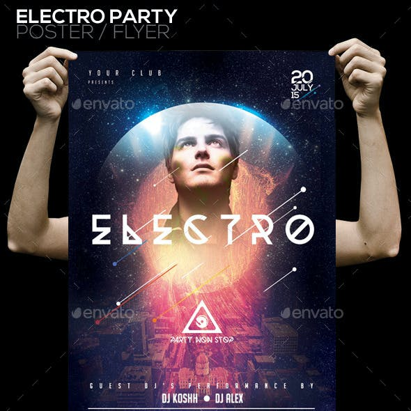 Electro Party PSD Poster/Flyer Template