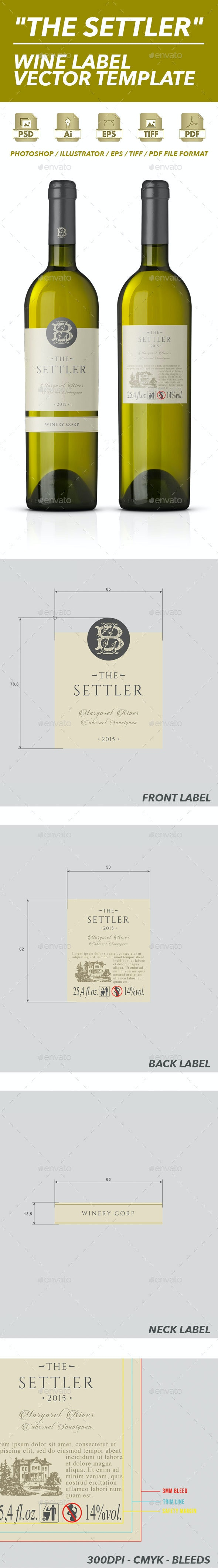 White Wine Label Vector Template - Packaging Print Templates