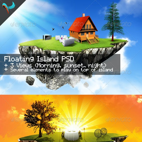 Floating Island Day, Sunset, and Night