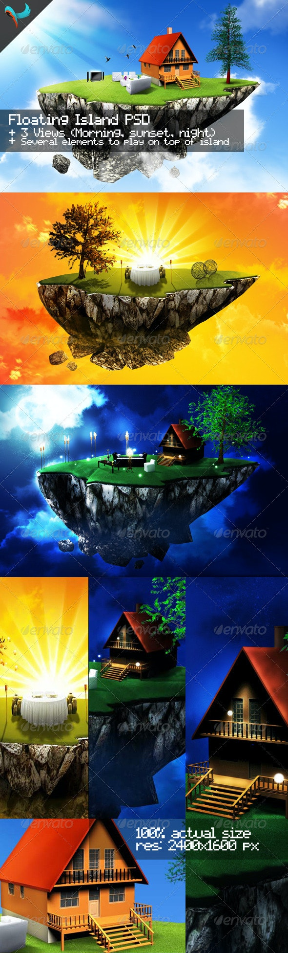 Floating Island Day, Sunset, and Night - Scenes Illustrations