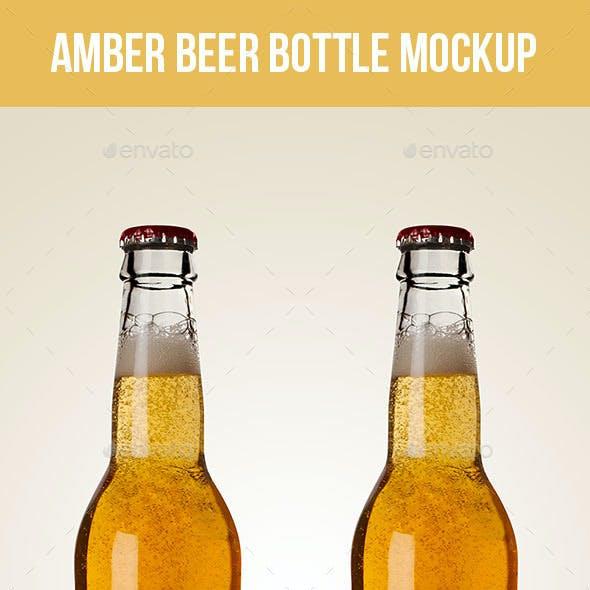 Premium Amber Beer Bottle Mockup