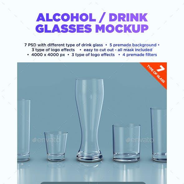 Alcohol / Drink Glasses Mockup
