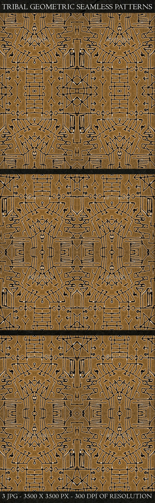 3 Tribal Geometric Seamless Patterns - Patterns Backgrounds