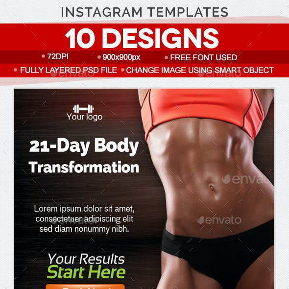Instagram Health & Fitness Banner Templates