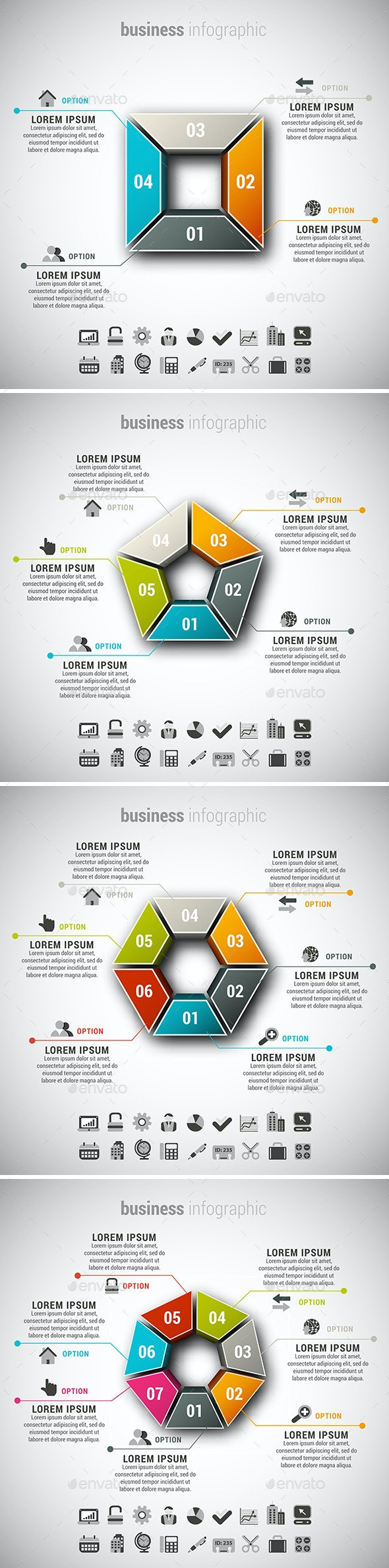 4 in 1 Business Infographics - Infographics