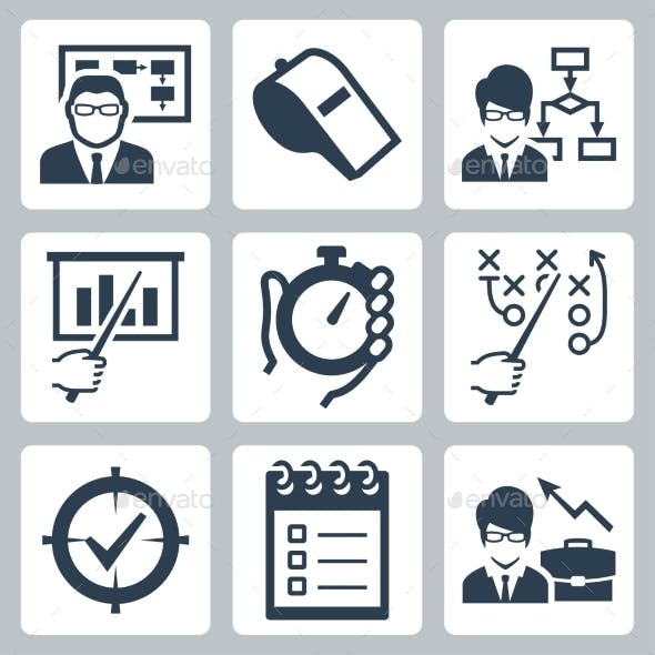 Coaching, Training And Mentoring Vector Icon Set