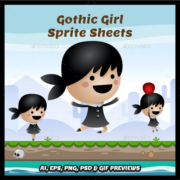 Gothic Girl Game Character Sprite Sheets