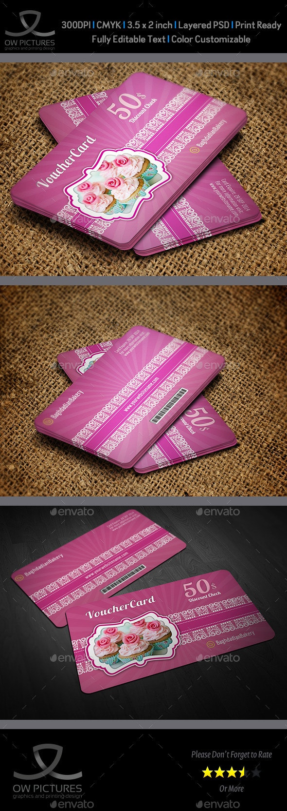 Cake Shop Voucher Gift Card Template Vol.2 - Cards & Invites Print Templates