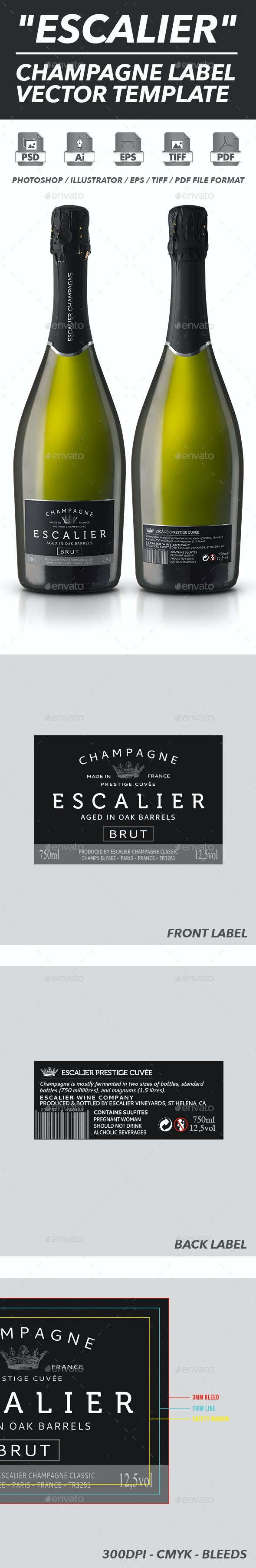 Champagne Label Vector Template - Packaging Print Templates