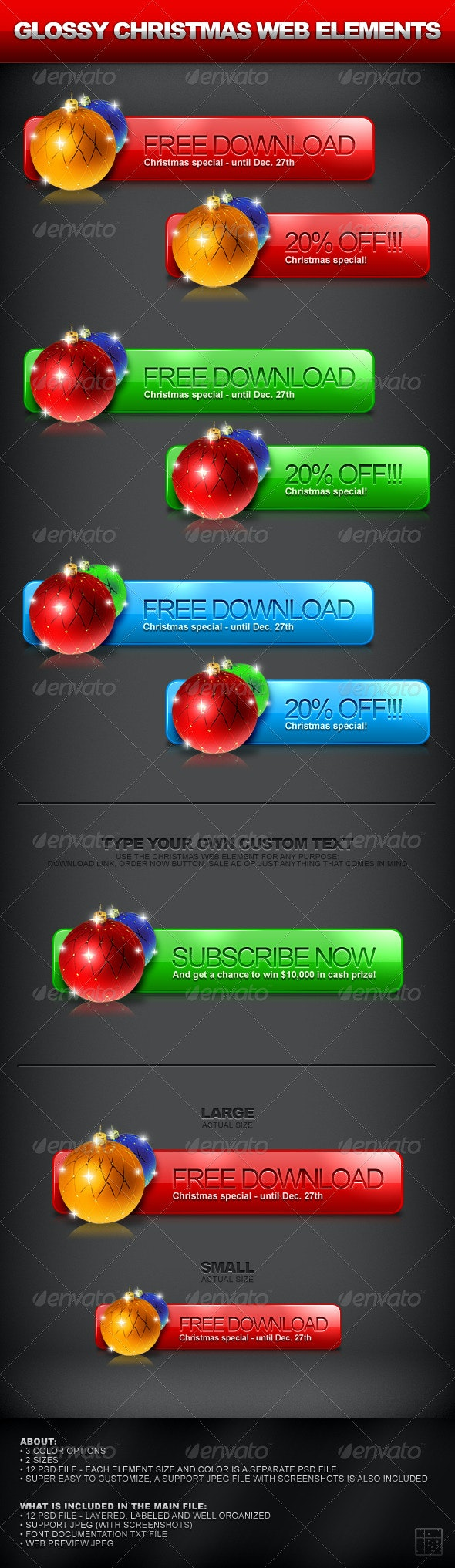 Christmas Web Element - 3 Colors - Buttons Web Elements