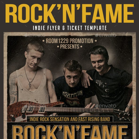 Rock Band Flyer and Ticket Template