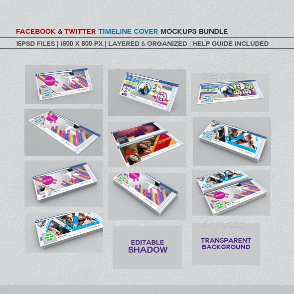 Facebook And Twitter Timeline Cover mockups Bundle
