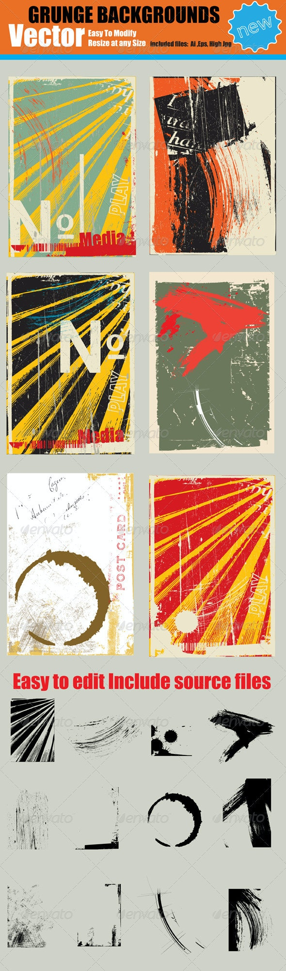 Vector Abstract Grunge Backgrounds  - Abstract Conceptual