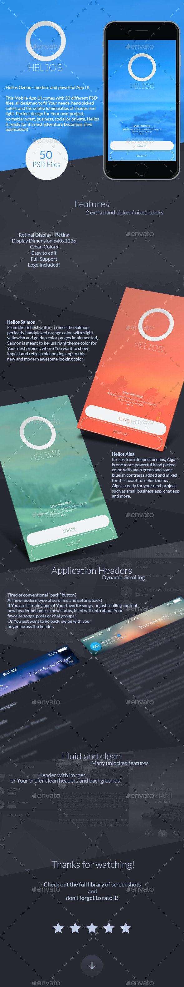Helios Ozone - Modern And Powerful Mobile App UI - User Interfaces Web Elements