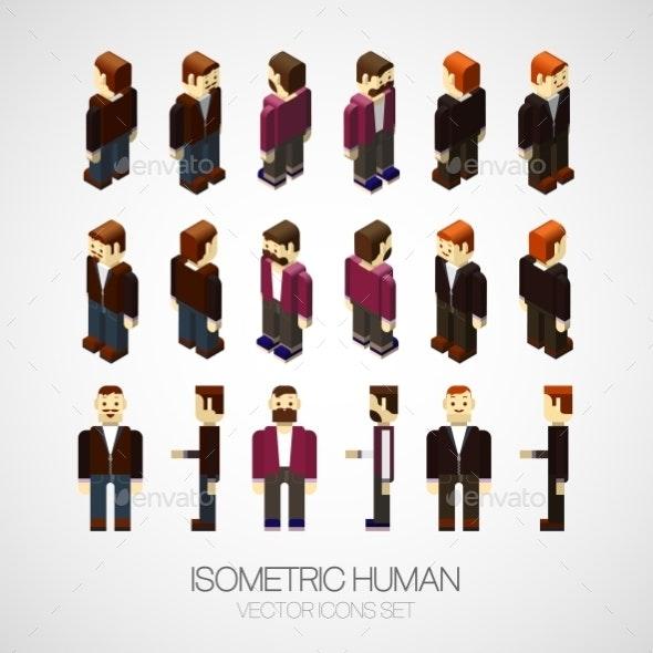 Vector Isometric Human Set - People Characters
