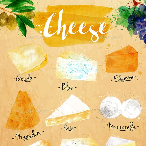 Watercolor Poster Cheese