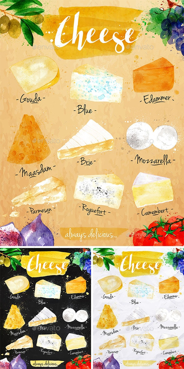 Watercolor Poster Cheese - Food Objects