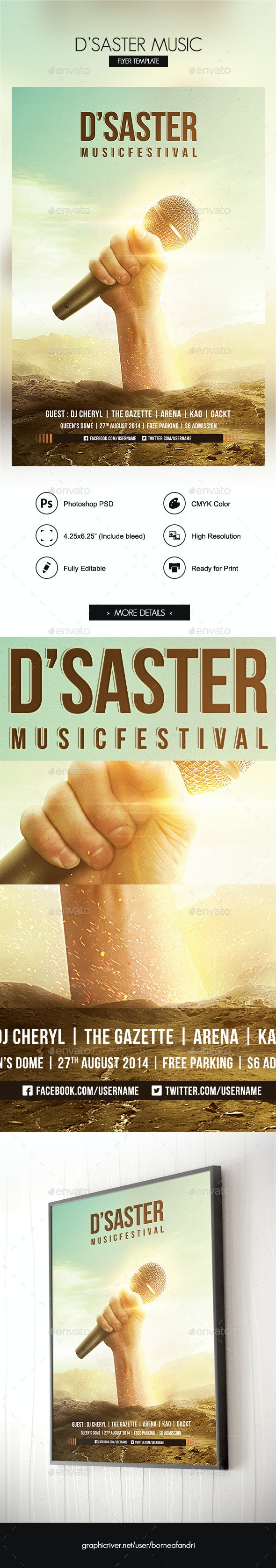 DSaster Music Flyer Template - Clubs & Parties Events