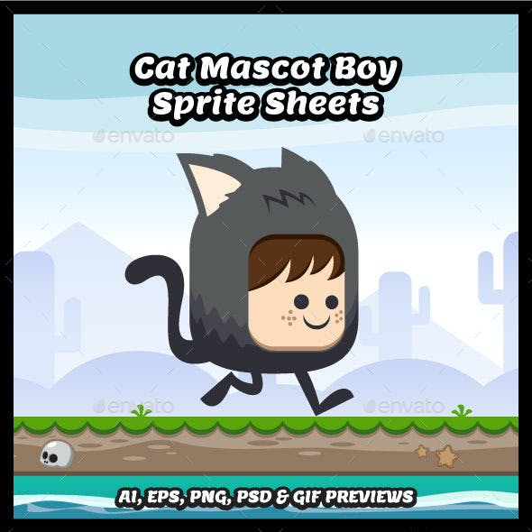 Cat Mascot Boy Game Character Sprite Sheets
