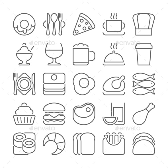 Food And Drinks Outline Icons - Food Objects