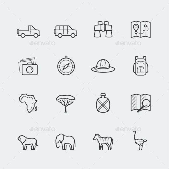 Vector Safari Icon Set In Outline Style